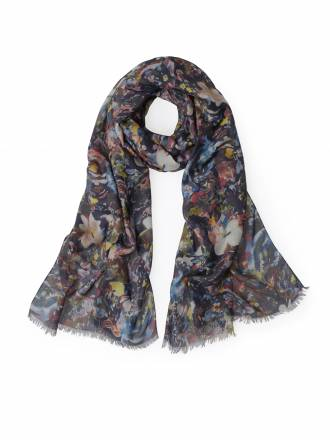Schal vielfarbigem Blüten-Print Anna Aura blau