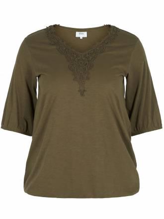 Shirt verzierung am Ausschnitt zizzi braun