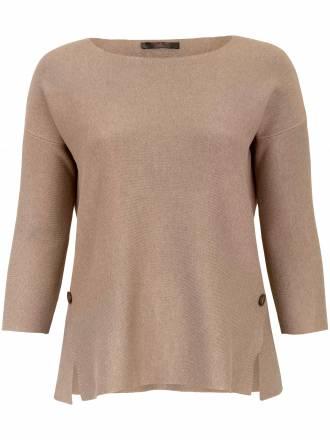 Pullover 7/8 Arm und dekorativen Schlitzen Emilia Lay beige