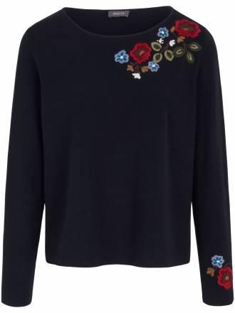 Pullover auffallend schöner Stickerei Basler blau