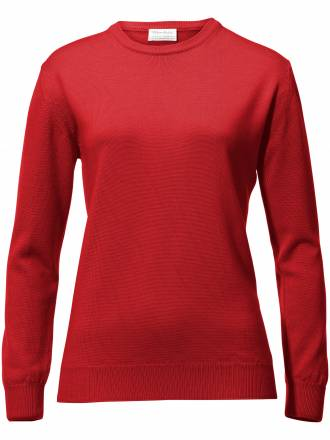 Rundhals-Pullover – Modell Gisela Peter Hahn rot
