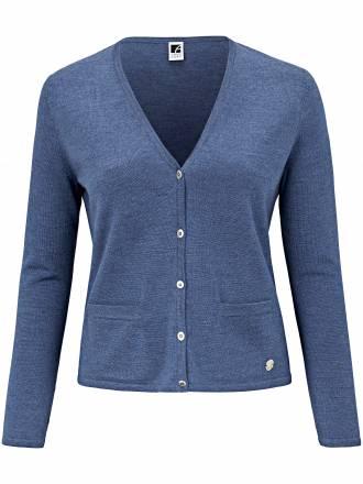Strickjacke in 100% Merino Biella Yarn Anna Aura blau