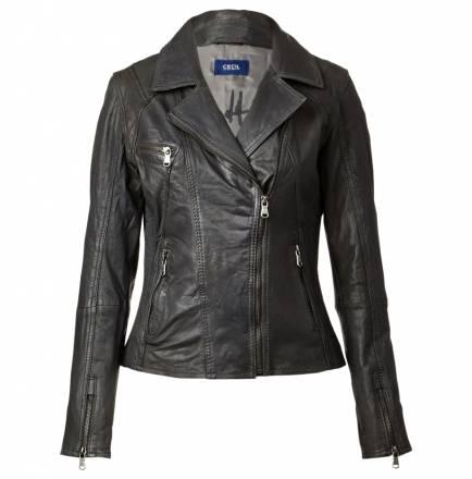 Bikerjacke aus Leder – Raven Grey