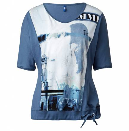 Fledermaus-Printshirt – denim blue