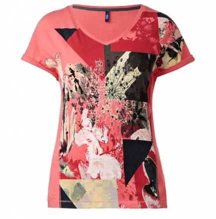 V-Shirt mit Grafikeinsatz – teaberry