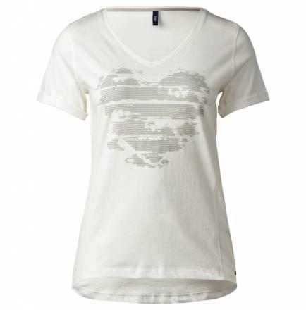 V-Neck T-Shirt mit Herz – ceramic