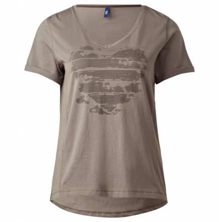V-Neck T-Shirt mit Herz – dark sand