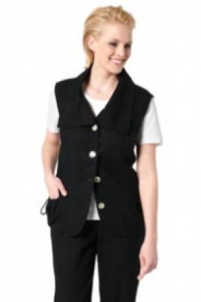 Gina Laura Leinen-Weste, breiter Kragen, Taschen und Taille mit Tunnelzug