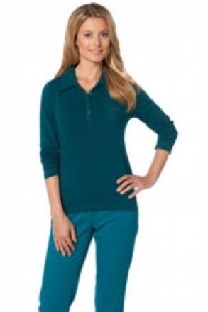 Gina Laura Poloshirt mit Brusttasche, langarm