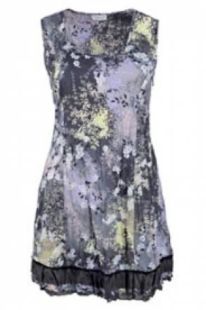 Gina Laura Blusenkleid mit Blütenmuster, Rüsche am Saum, ärmellos