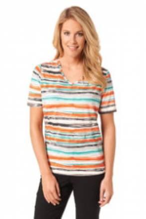 Gina Laura V-Shirt mit Streifendruck, halbarm