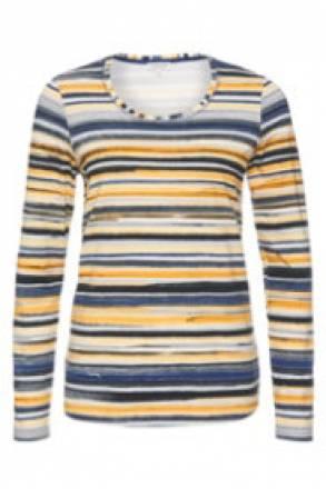 Gina Laura Shirt in Stretch-Komfort Qualität mit modernen Streifenmustern