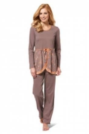 Gina Laura Pyjama, Oberteil mit Blümchensaum, Spitze und Zierschleife