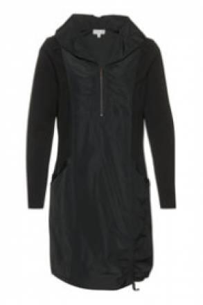 Gina Laura Kleid mit Schalkragen, Dekolleté mit Zipper, langarm