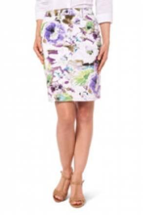 Gina Laura Rock in Baumwoll-Qualität, Blütendruck, gerader Schnitt