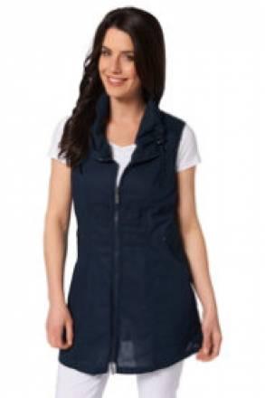 Gina Laura Longweste, Kragen raffbar, zierende Spitzenbänder am Zipper