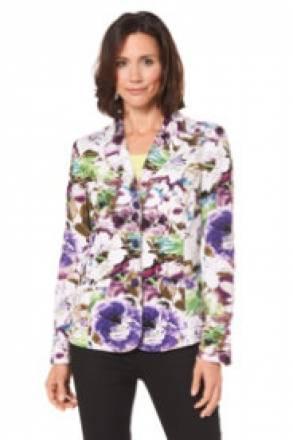 Gina Laura Leinenblazer mit Blütendruck, Reversform, 2 Leistentaschen