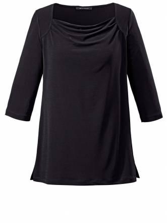 Shirt mit Wasserfallkragen Sara Lindholm schwarz