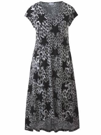 Kleid mit Leo-Print und Sternen Sara Lindholm grau gemustert