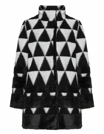 Wollmix-Jacke mit Kunstfelleinsätzen
