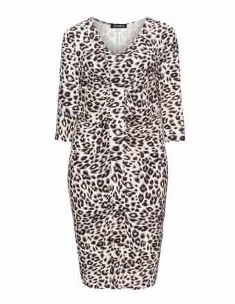 Gerafftes Kleid mit Animal-Print