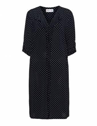 Gepunktetes Jerseykleid mit Rüschen