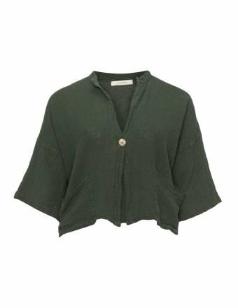Kurze Leinenmix-Jacke im Knitter-Look