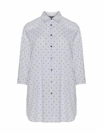 Gemusterte Hemdbluse aus Baumwollmix