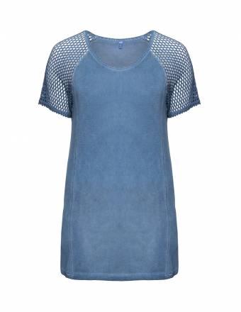 Shirt mit Netzstoff-Ärmeln