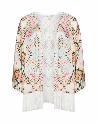 Kimono mit Fransen und Allover-Print