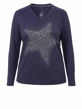 Funkelndes Shirt 'Star' mit Turn-Up-Ärmeln Via Appia Due 810
