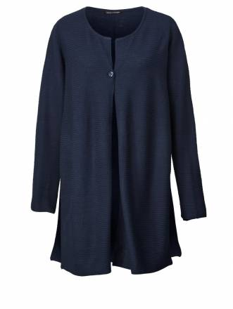 Long-Strickjacke Sara Lindholm Marineblau