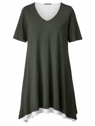 2-in-1-Jersey-Kleid mit Zipfelsaum Sara Lindholm Khaki
