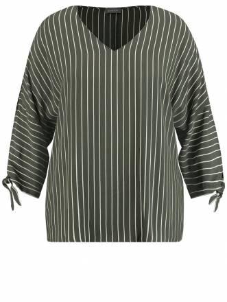 Gestreifte Bluse mit Ärmelschlitzen Samoon Meadow Green Streifen