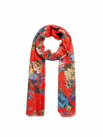 Schal mit Blumen und Fransen Codello red