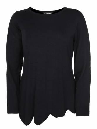 Pullover mit Wellensaum Doris Streich schwarz