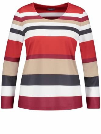 Struktur-Shirt mit Streifen-Print Samoon Maple Streifen