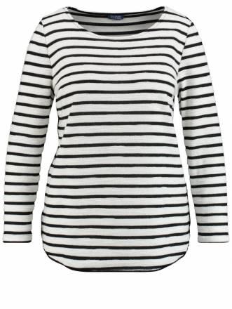 Sweatshirt mit Streifen Samoon Black / Offwhite Ringel