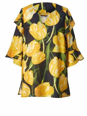 Tunika mit Blumen-Print und Volants YOEK Gelb