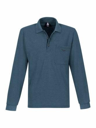 Damen Langarm Poloshirt aus Baumwolle Trigema jeans-melange