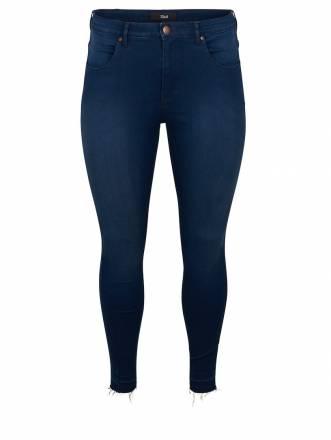 Slim Fit Jeans mit Fransensaum Zizzi dark blue denim