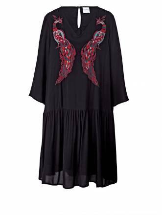 Kleid mit Stickerei Junarose Schwarz