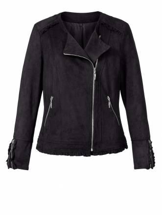 Lederimitat-Jacke mit Rüschen Angel of Style schwarz