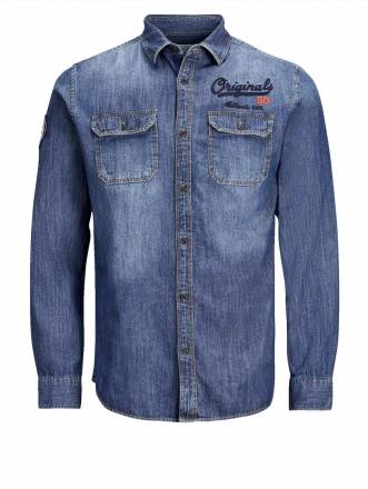 Jeanshemd mit Stickerei Jack & Jones dark blue denim
