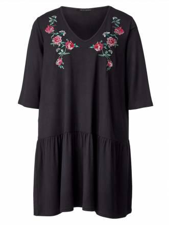 Jersey-Kleid mit Stickerei Sara Lindholm Schwarz