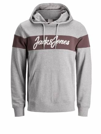 Sweatshirt mit Kapuze Jack & Jones hellgrau melange