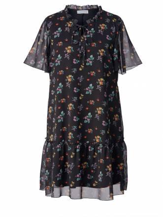 2-in-1-Kleid mit Blumen-Print Angel of Style Schwarz