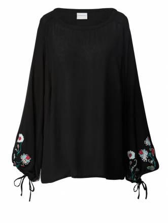 Bluse mit Stickerei Junarose schwarz