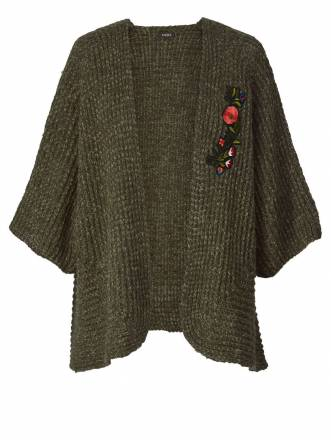 Strickjacke mit Applikation mat. khaki meliert
